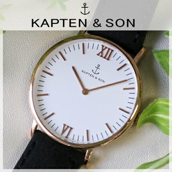 キャプテン&サン KAPTEN&SON 40mm ホワイト/ブラックヴィンテージ レディース 腕時計 時計 GD-KS40WHBKV【ポイント10倍】【楽ギフ_包装】
