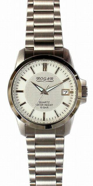 【ROGAR】ローガル メンズ腕時計 RO-059M-WH 10気圧防水(日本製) /10点入り(代引き不可)【ポイント10倍】