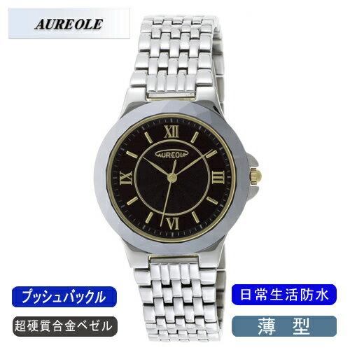 【AUREOLE】オレオール メンズ腕時計 SW-489M-1 アナログ表示 薄型 超硬質合金ベゼル 日常生活用防水 /10点入り(代引き不可)【ポイント10倍】