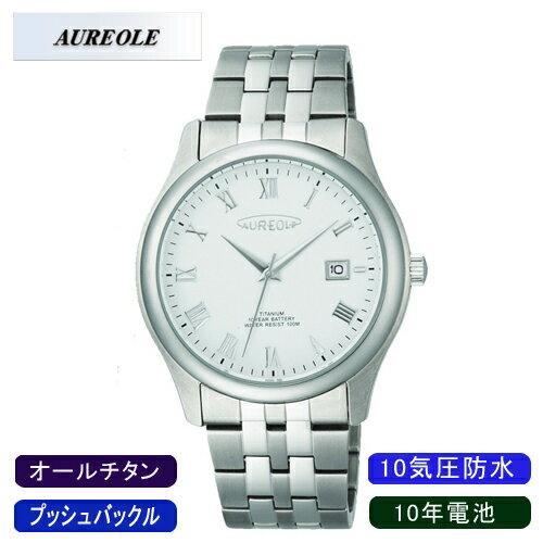 【AUREOLE】オレオール メンズ腕時計 SW-483M-6 アナログ表示 10年電池 オールチタン 10気圧防水 /10点入り(代引き不可)【ポイント10倍】