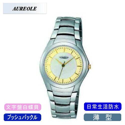 【AUREOLE】オレオール メンズ腕時計 SW-437M-2 アナログ表示 薄型 文字盤白蝶貝 日常生活用防水 /10点入り(代引き不可)【ポイント10倍】