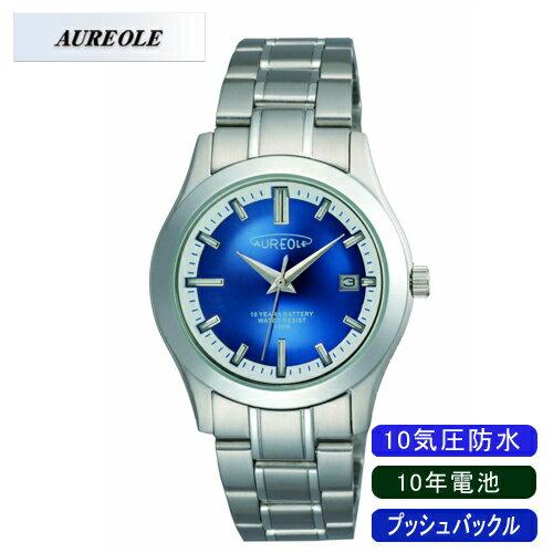 【AUREOLE】オレオール メンズ腕時計 SW-490M-5 アナログ表示 10年電池 10気圧防水 /10点入り(代引き不可)【ポイント10倍】