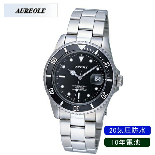 【AUREOLE】オレオール メンズ腕時計 SW-416M-1 アナログ表示 10年電池 20気圧防水 /10点入り(代引き不可)【ポイント10倍】