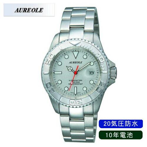 【AUREOLE】オレオール メンズ腕時計 SW-416M-6 アナログ表示 10年電池 20気圧防水 /10点入り(代引き不可)【ポイント10倍】