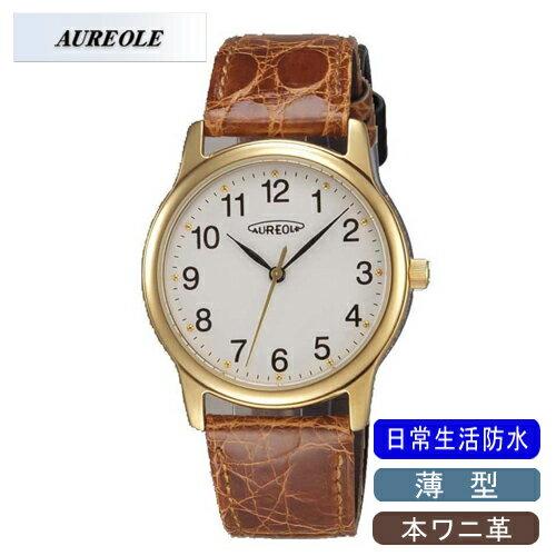 【AUREOLE】オレオール メンズ腕時計 SW-467M-2 アナログ表示 薄型 本ワニ革 日常生活用防水 /10点入り(代引き不可)【ポイント10倍】