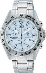【CITIZEN】シチズン Q&Q ソーラー電源搭載 クロノグラフ メンズ腕時計H022-201 /10点入り(代引き不可)【ポイント10倍】