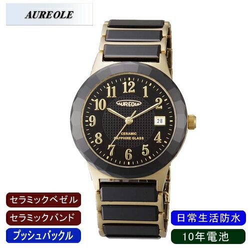 【AUREOLE】オレオール メンズ腕時計 SW-481M-1 アナログ表示 セラミック 10年電池 日常生活用防水 /10点入り(代引き不可)【ポイント10倍】