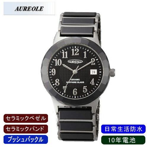 【AUREOLE】オレオール メンズ腕時計 SW-481M-4 アナログ表示 セラミック 10年電池 日常生活用防水 /10点入り(代引き不可)【ポイント10倍】