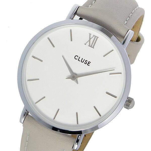 クルース CLUSE ミニュイ レザーベルト 33mm レディース 腕時計 時計 CL30006 ホワイト/グレー【楽ギフ_包装】