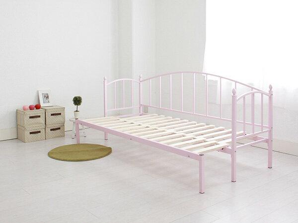 メリル アイアン横伸長式ソファベッド フレームのみ SD セミダブル PK ピンク (代引き不可)【送料無料】