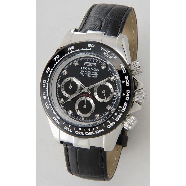 テクノス TECHNOS T4392LT クロノグラフ 24時間計 10気圧防水 ブラック×シルバー メンズ 腕時計【送料無料】【smtb-f】