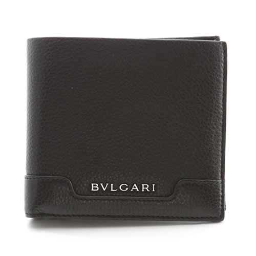 ブルガリ URBAN アーバン 小銭入れ付 二つ折り財布 カーフ ブラック 33403 GRAIN/BLK【送料無料】