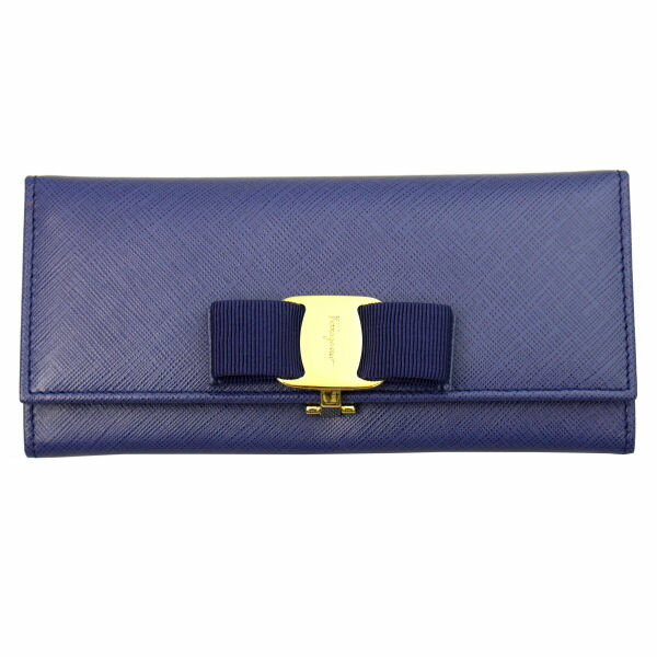 Salvatore Ferragamo サルヴァトーレフェラガモ 長財布 22-B559-609612 NEWIRIS ブルー 財布(代引不可)【送料無料】