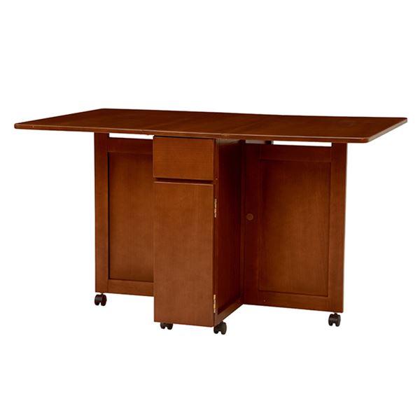 バタフライテーブル(折りたたみ式テーブル) 木製/オーク突板 引き出し収納/キャスター付き VDT-7955DBR ダークブラウン【代引不可】