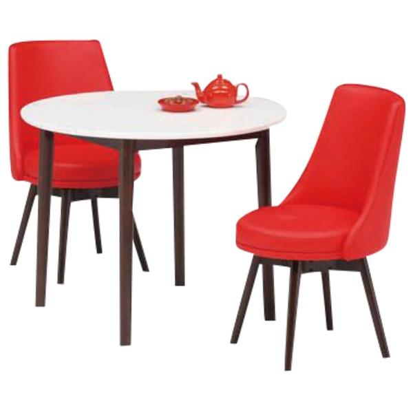 ダイニングセット 3点 ラウンドダイニングテーブル(ホワイト/白天板)&チェア(レッド/赤)2点 木製 【組立品】【代引不可】