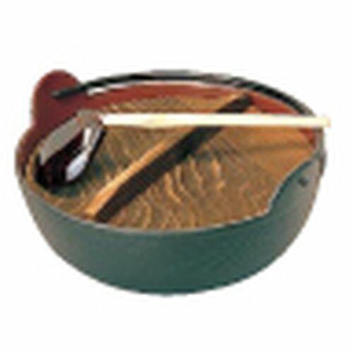 五進 田舎鍋(鉄製内面茶ホーロー仕上) 30cm(杓子付) QIN06030