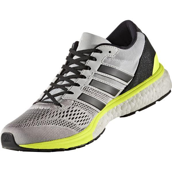 adidas(アディダス) ランニングシューズ BA8146 グレーTWO×コアブラック×ソーラーイエロー 24.5cm