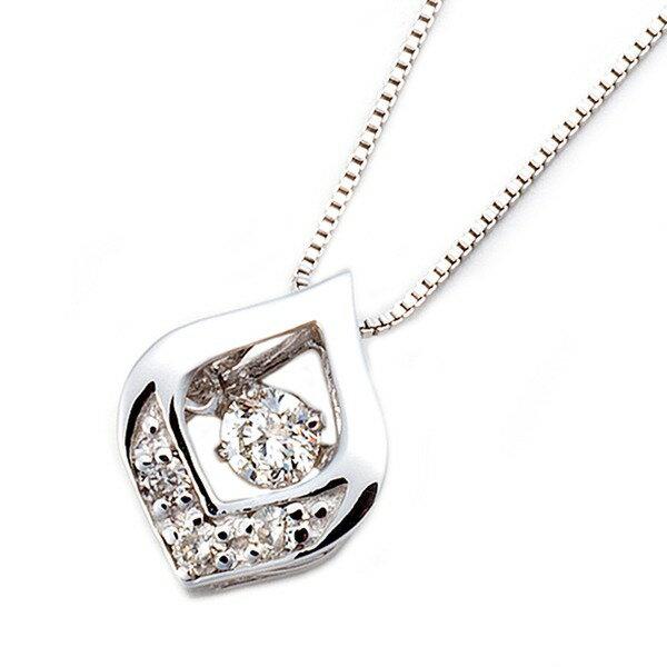 ダイヤモンドペンダント/ネックレス 一粒  K18 ホワイトゴールド 0.1ct ダンシングストーン ダイヤモンドスウィングネックレス 揺れるダイヤが輝きを増す☆ 雫モチーフ 揺れる ダイヤ