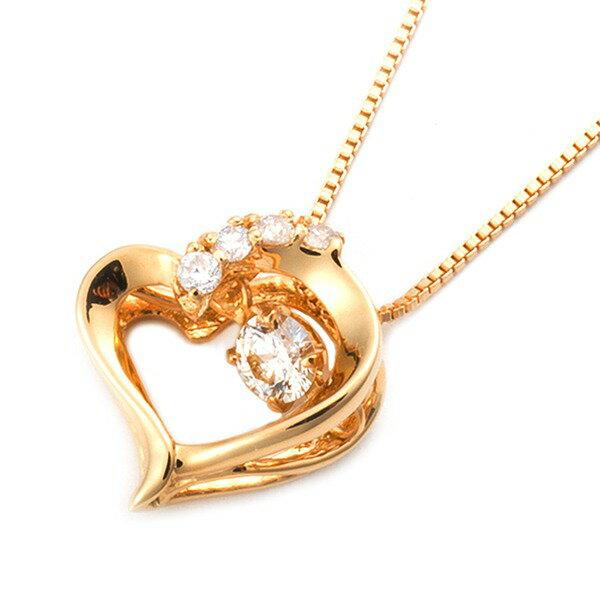 ダイヤモンドペンダント/ネックレス 一粒  K18 イエローゴールド 0.1ct ダンシングストーン ダイヤモンドスウィングネックレス 揺れるダイヤが輝きを増す☆  ハートモチーフ 揺れる ダイヤ