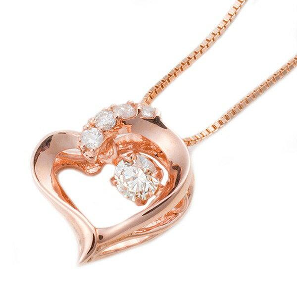 ダイヤモンドペンダント/ネックレス 一粒  K18 ピンクゴールド 0.1ct ダンシングストーン ダイヤモンドスウィングネックレス 揺れるダイヤが輝きを増す☆ ハートモチーフ 揺れる ダイヤ