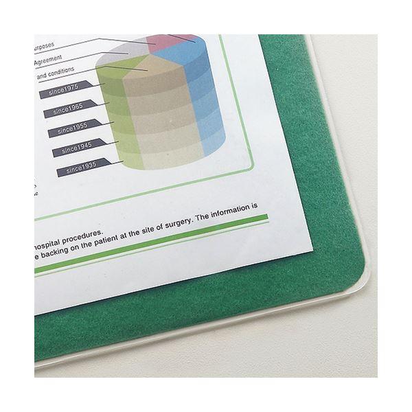 (まとめ) TANOSEE 再生透明オレフィンデスクマット ダブル(下敷付) 1390×690mm グリーン 1枚 【×5セット】