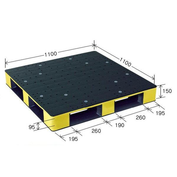 岐阜プラスチック工業 カラープラスチックパレット HB-D4・1111SC ブラック/イエロー 片面使用 1100×1100mm【代引不可】【送料無料】