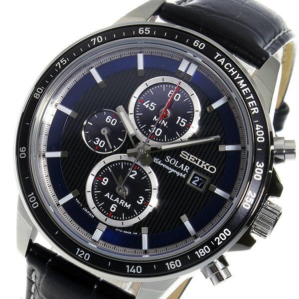 セイコー ソーラー クロノ クオーツ メンズ 腕時計 時計 SSC437P1 ブラック【楽ギフ_包装】