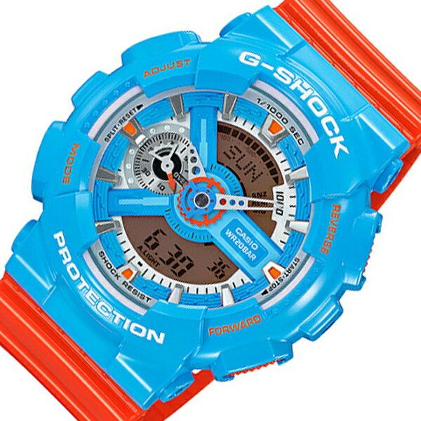 カシオ CASIO Gショック クオーツ メンズ 腕時計 時計 GA-110NC-2A ブルー/オレンジ【楽ギフ_包装】