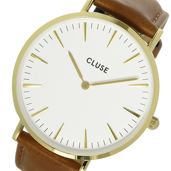 クルース CLUSE ラ・ボエーム レザーベルト 38mm レディース 腕時計 時計 CL18409 ホワイト/ブラウン【楽ギフ_包装】