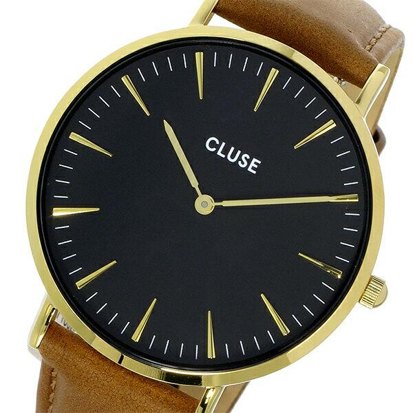 クルース CLUSE ラ・ボエーム レザーベルト 38mm レディース 腕時計 時計 CL18404 ブラック/キャメル【楽ギフ_包装】