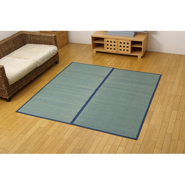い草花ござ カーペット 『DXクルー』 ブルー 本間6畳(約286.5×382cm) (裏:不織布)
