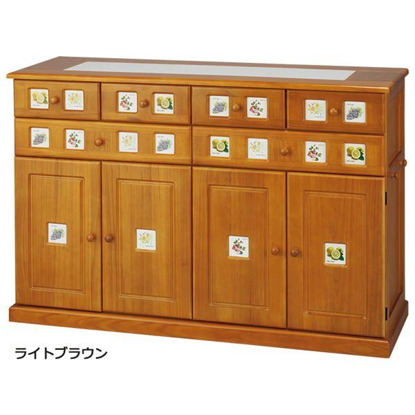 南欧風キッチンカウンター ライトブラウン 【3: 幅120cm】