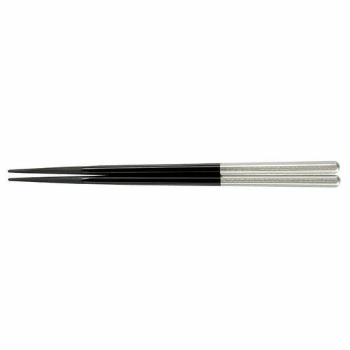 福井クラフト PBT六角箸(10膳入) 黒/銀 90030716 RHSD402