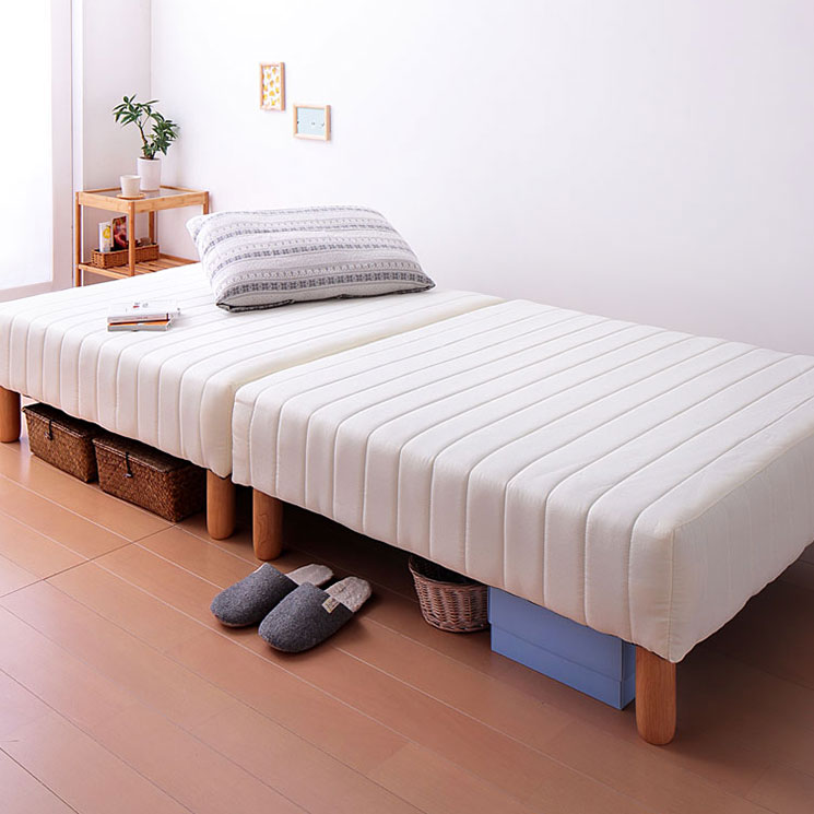 2種類の寝心地&10色から選べる!分割式カバーリングマットレスべッド ポケットコイル シングル 22cm脚(代引不可)【送料無料】【smtb-f】