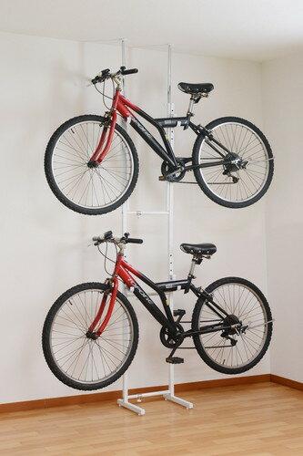 室内用/ツッパリ式自転車ラック【ホワイト】 とても頑丈な組立家具 (代引き不可)