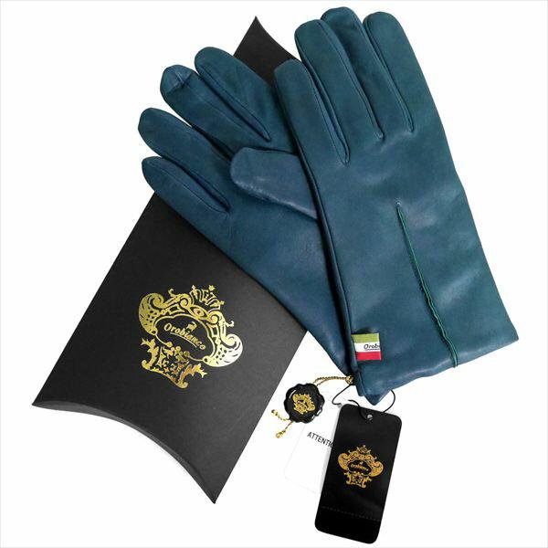 OROBIANCO オロビアンコ メンズ手袋 ORM-1402 Leather glove 羊革 ウール BLUE サイズ:8(23cm) ギフト プレゼント クリスマス【送料無料】【smtb-f】