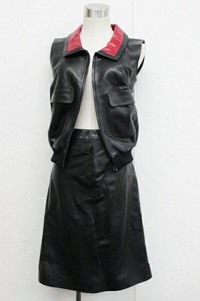 CHANEL シャネル 01P レザー ベスト&スカートセット 38 ブラック P17780V00923 【中古】