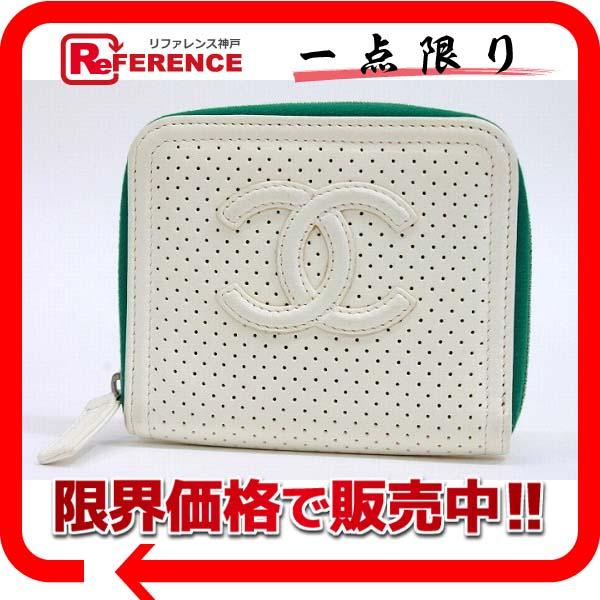 CHANEL シャネル CC パンチングレザー ラウンドファスナーカードケース ホワイト×グリーン 美品 【中古】