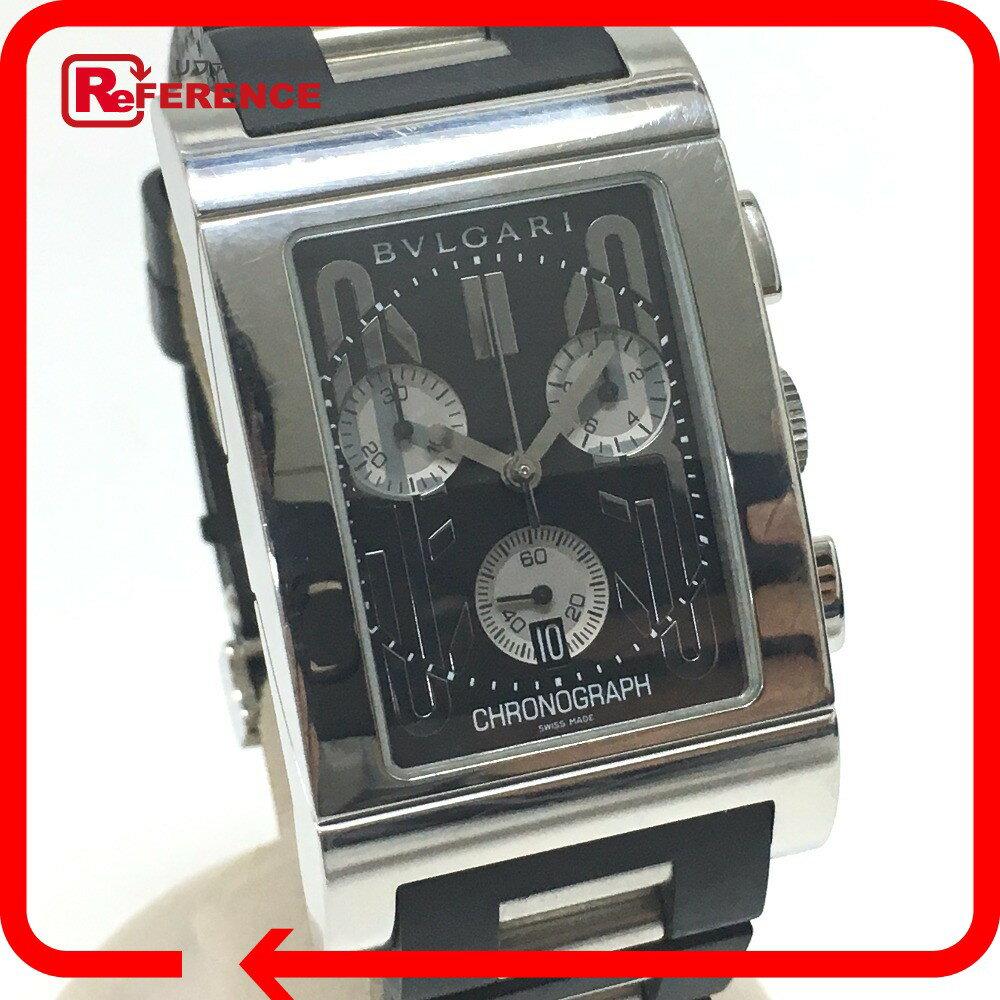 BVLGARI ブルガリ  RTC49S メンズ腕時計 レッタンゴロ   腕時計 SS/ラバー ブラック メンズ【中古】