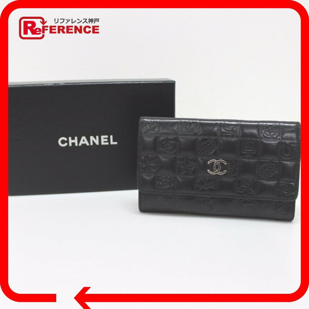 CHANEL シャネル  A28582 メンズ レディース  チョコバー  アイコンライン 二つ折り財布(小銭入れあり) レザー レディース【中古】
