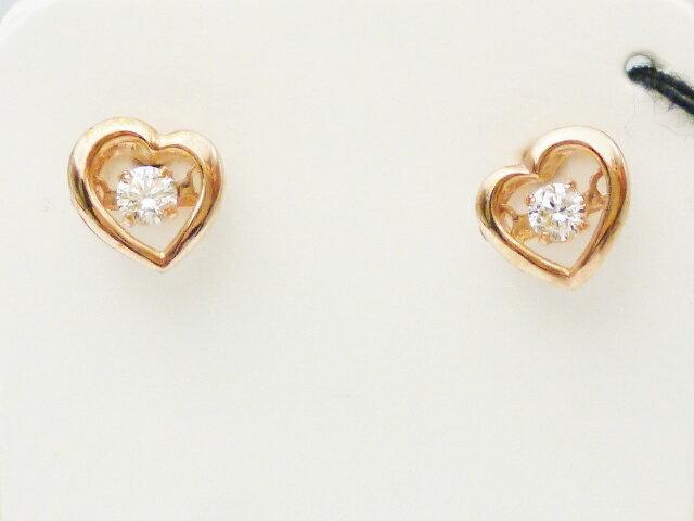 ダンシングストーン ダイヤモンド 揺れる 一粒  ピンクゴールドピアス ダイヤモンド0.10ct×K18PG
