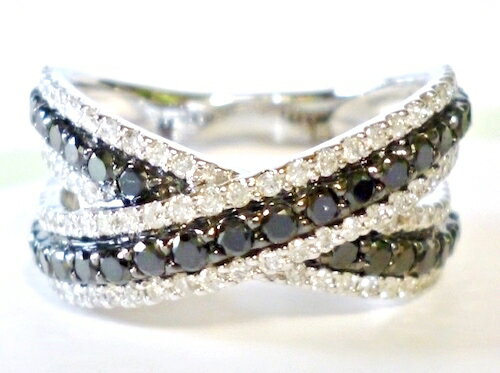 K18WG×ダイヤモンド合計0.45ct×ブラックダイヤモンド合計0.65ct ホワイトゴールド リング