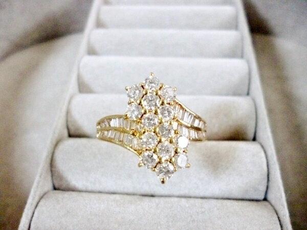 K18YGイエローゴールド×ダイヤモンド合計1.45ct ダイヤモンド×イエローゴールド レディース 指輪(リング)