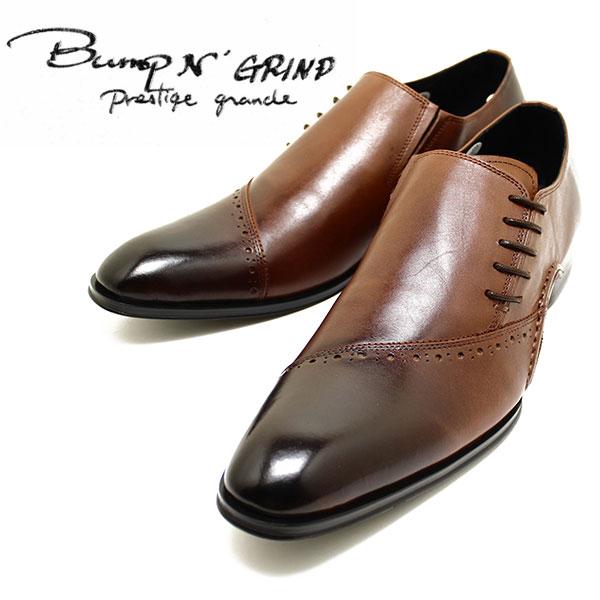 Bump N' GRIND/バンプアンドグラインド prestige grade 7011 サイドレースシューズ ブラウン 本革ビジネスシューズ ヌメ革/ドレス/紐靴/革靴/仕事用/メンズ