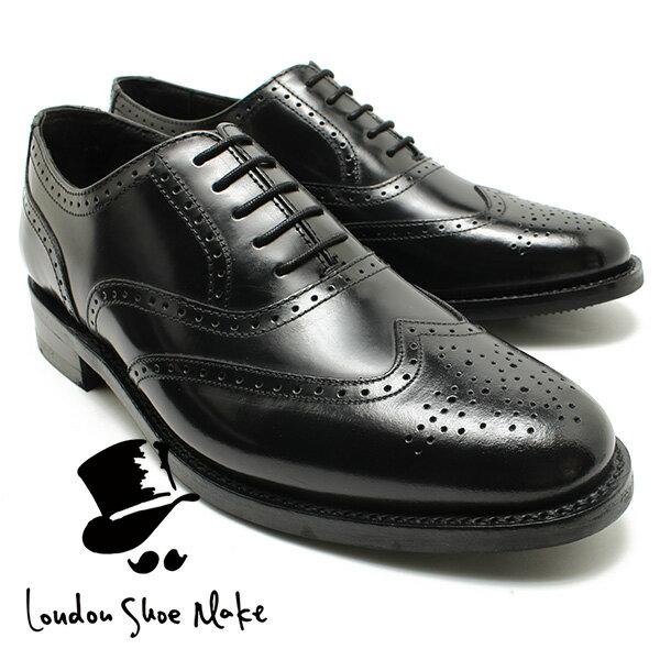London Shoe Make/Oxford & Derby 8002 グッドイヤー内羽ウィングチップシューズ ブラック 本革ビジネスシューズ ビジネス/ドレス/紐靴/革靴/仕事用/メンズ