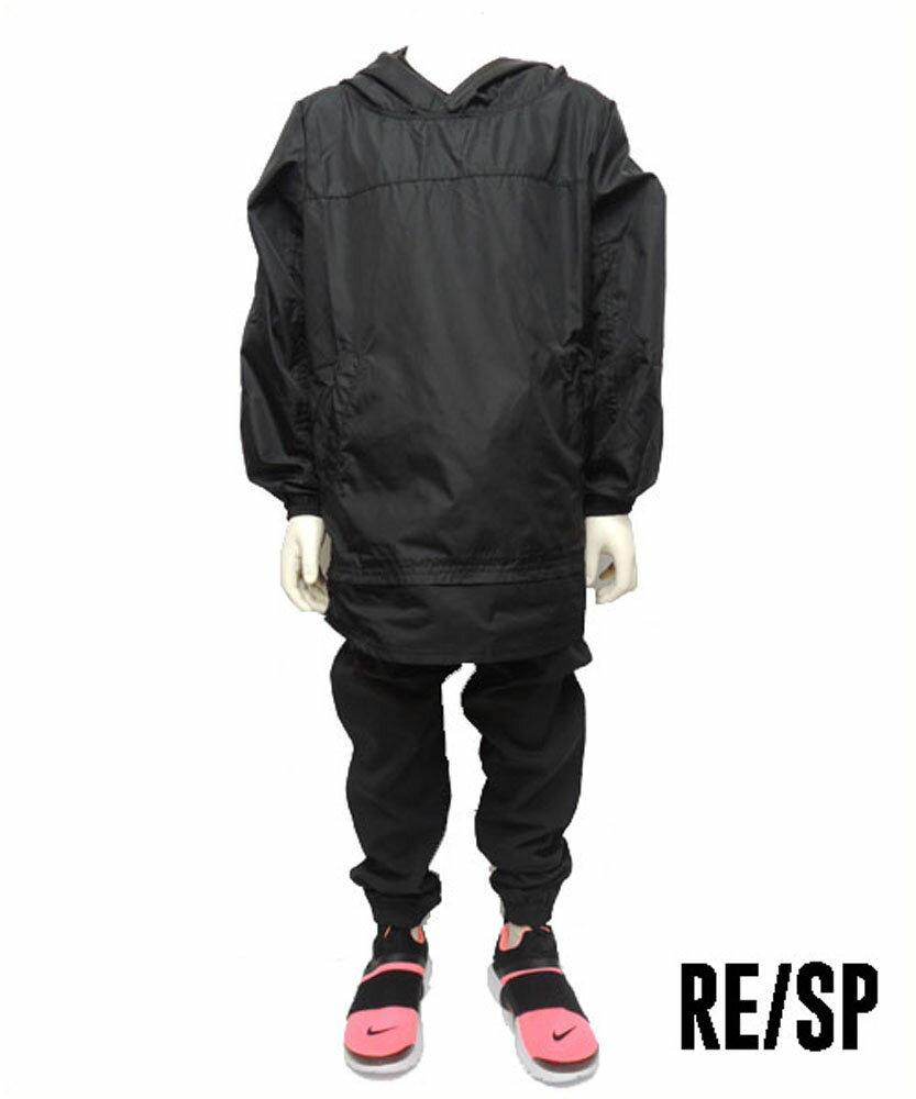 RE/SP  ナイロンレイヤード フーデットパーカー (130-160)  子供服 おしゃれ 男の子 女の子 ジュニア