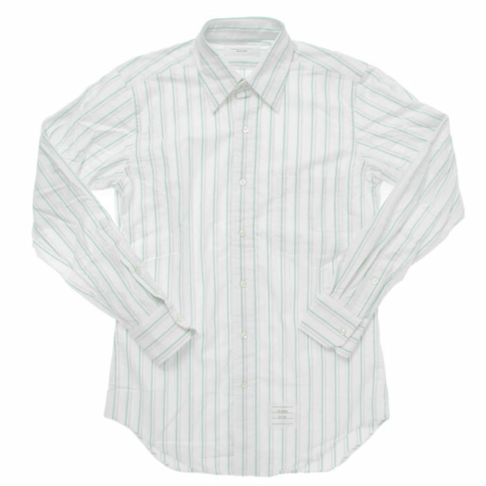 【全品ポイント2倍  11/13 09:59まで】 【メンズ】 THOM BROWNE classic ls bd bc shirt トムブラウン オックスフォード シャツ ストライプシャツ ホワイト グリーン グレー