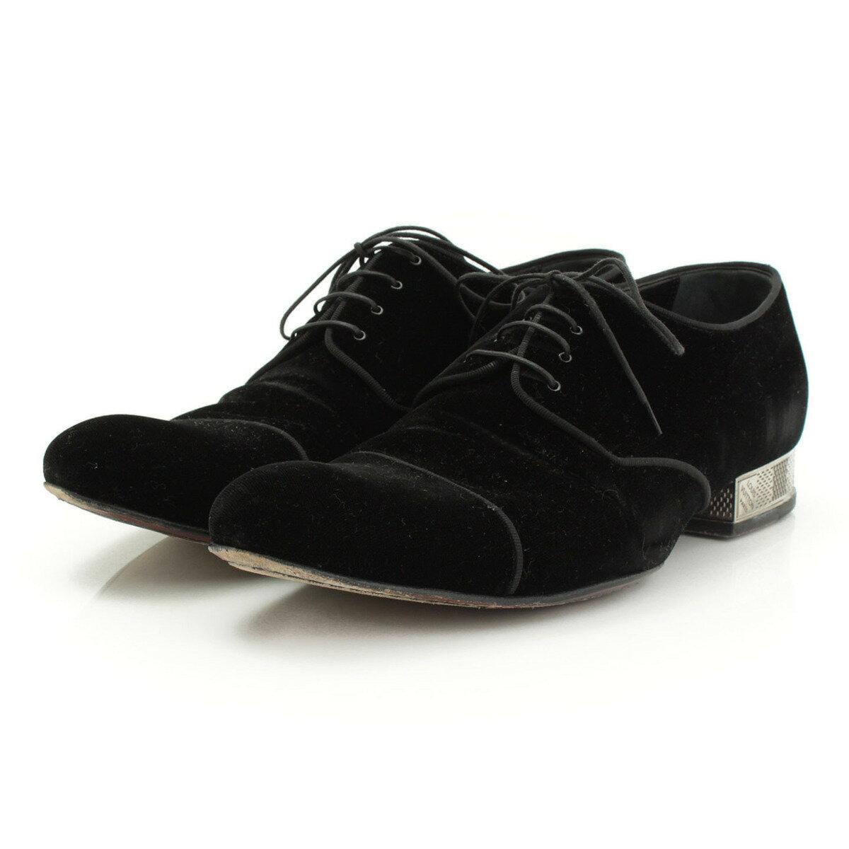 【ルイヴィトン】Louis Vuitton メンズ ベロア メタルヒール レースアップシューズ ブラック 6 1/2 【中古】【鑑定済・正規品保証】【送料無料】28167