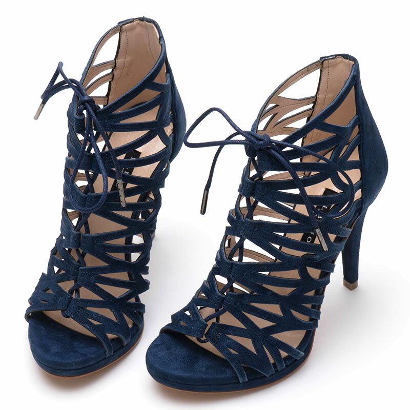 【ALBANO Made in Italy】レースアップで脚魅せきれい☆ラグジュアリーな雰囲気に☆優しい風合いのブルースエード☆レースアップブーツサンダル・ヒール10.5cm
