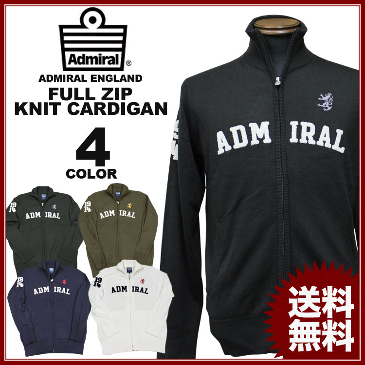 アドミラル ニットカーディガン Admiral LOGO FULL ZIP KNIT CARDIGAN さがらロゴ ブラック 黒 カーキ ネイビー ホワイト 白 メンズ